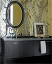 A woodland-themed mosaic in the powder room