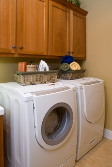 modern laundry room with new washer and dryer