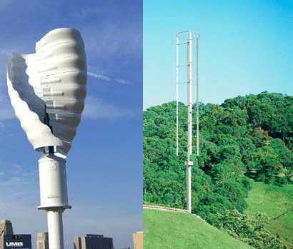 Helix Wind and Windspire vertical axis turbines