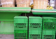 Milk crates were reused throughout the project