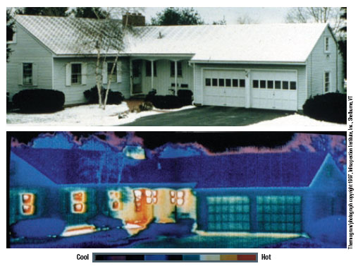 Infrared photo of home heat loss