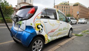 Electric vehicle in car sharing station from Shutterstock