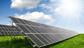 Solar energy panels against a sunny sky from Shutterstock