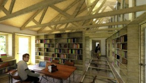 Library and office space on the second floor of Dancing Rabbit's planned community building