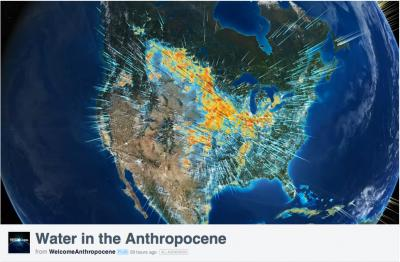 """This is an image of North America from the data visualization video """"Water in the Anthropocene,"""" to debut May 21 at gwsp.org and www.anthropocene.info. Credit: gwsp.org/ www.anthropocene.info"""