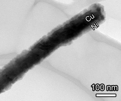 TEM closeup CuNi nanowire