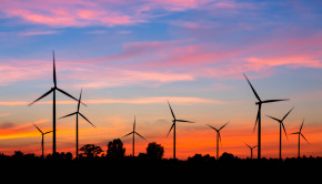 sunset wind turbines shutterstock_168941363