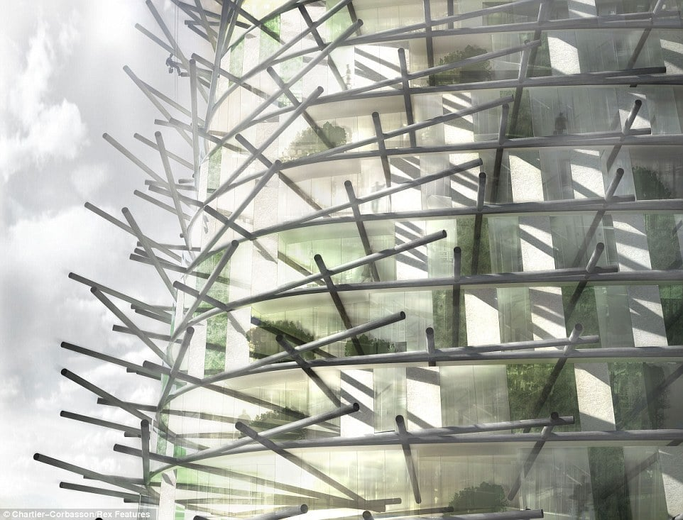 Organic skyscraper facade is modeled after bamboo
