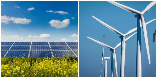 Renewable energy from solar and wind power
