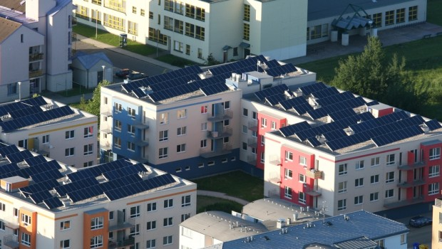 Solar power panels on roofs of buildings