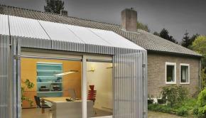 garage turned into sleek home office