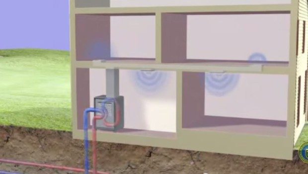 Typical geothermal heat pump system