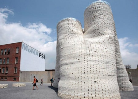 Mushroom Towers made from Ecovative mushroom based bioplastic at MoMA PS1 plaza