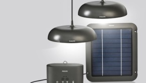 Phillips solar powered LED lights last up to 40 hours and have a USB port for charging cell phones and other electronic devices