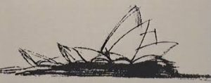 The original design sketch for the Sydney Opera House was little more than a collection of scrawls but it represented an idea for one of the first sustainable buildings