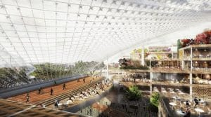 New Google headquarters will use crabots - robot crane hybrids - to configure its interior space.