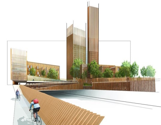 Cross laminated wooden tower proposed for Paris