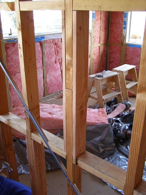 Thermal bridging reduces R-value of wall