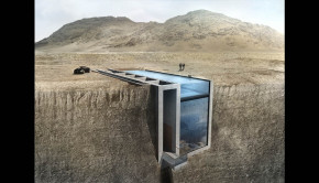 Casa Brutale is set into a cliff overlooking the sea.