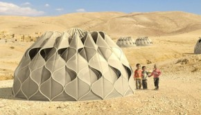 Abeer Seikaly has designed a fabric tent that is lightweight but sturdy. It makes its own hot water and elecricity.