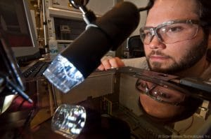 Dr Scott Hammond, scientist, works on SolarWindow window coating