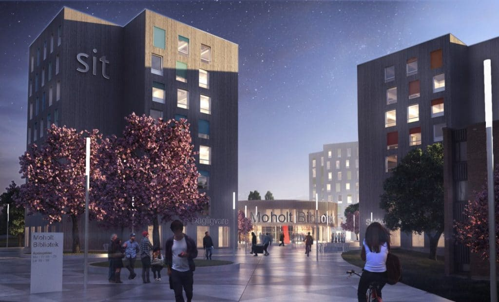 Illustration of nighttime at Trondheim's student village. Credit: MDH Arkitekter