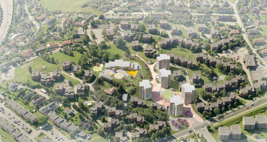 Aerial Illustration of Trondheim's Award-Winning Student Village. Credit: MDH