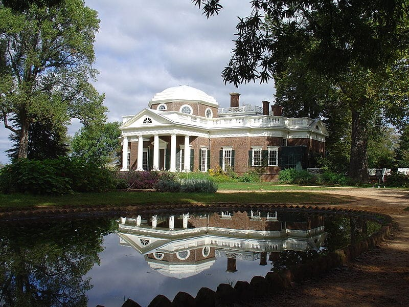 Thomas Jefferson's Monticello Plantation. Credit: Wikipedia commons