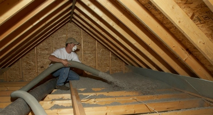 Dry loose-fill blow in cellulose insulation. Credit: Energy.gov