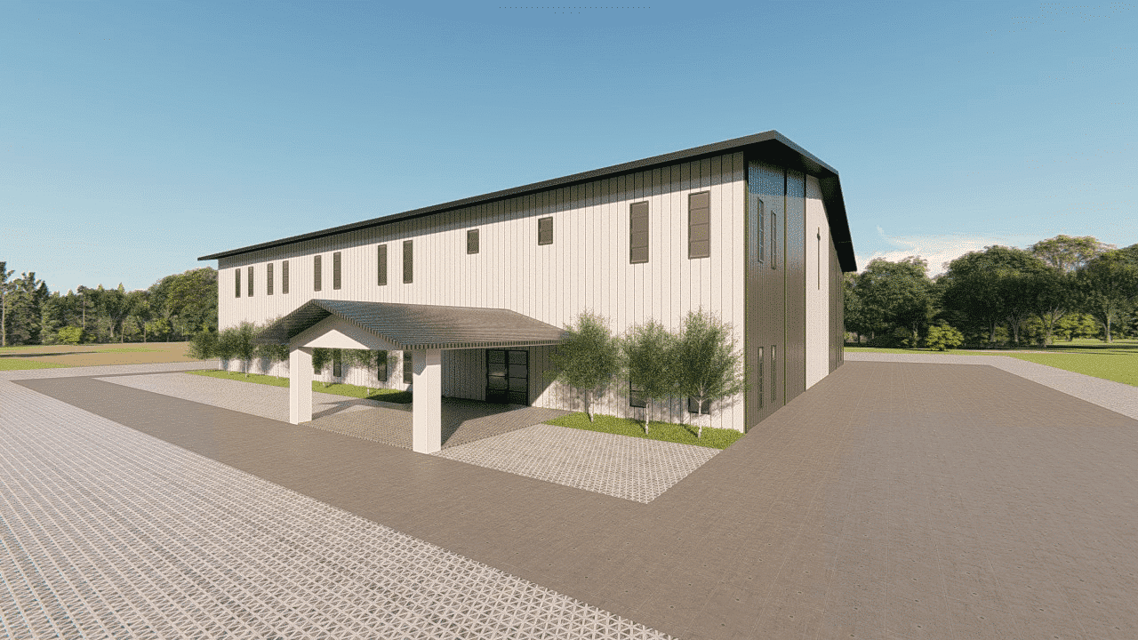 Church steel building rendering