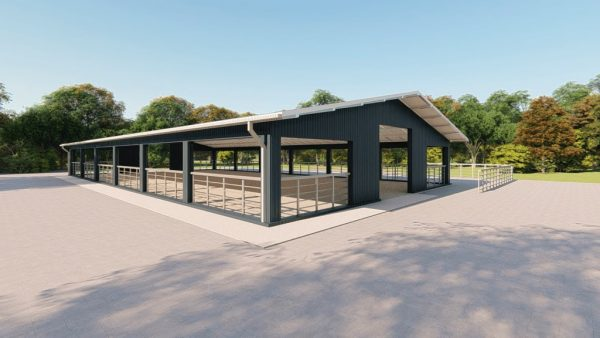 Agricultural metal building rendering 3