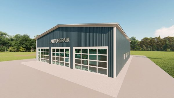 Auto repair metal building rendering 2