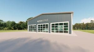 Auto repair metal building rendering 3