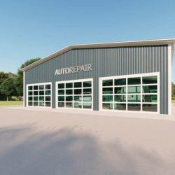 Auto repair metal building rendering 3