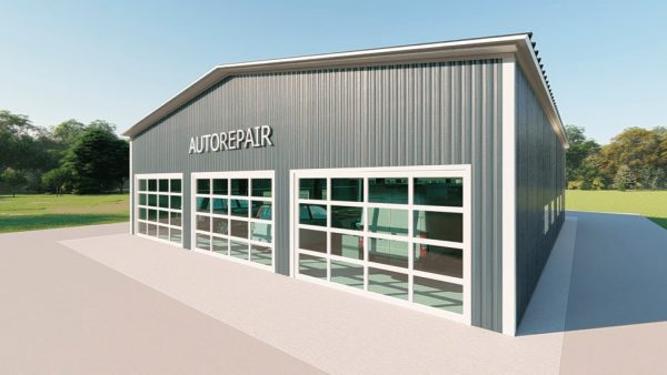 Auto repair metal building rendering 4