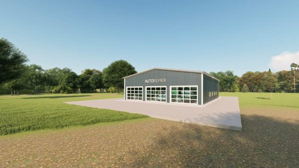 Auto repair metal building rendering 5