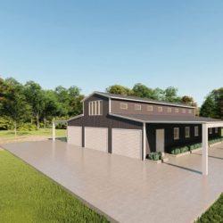 Barns 40x60 barn metal building rendering 3