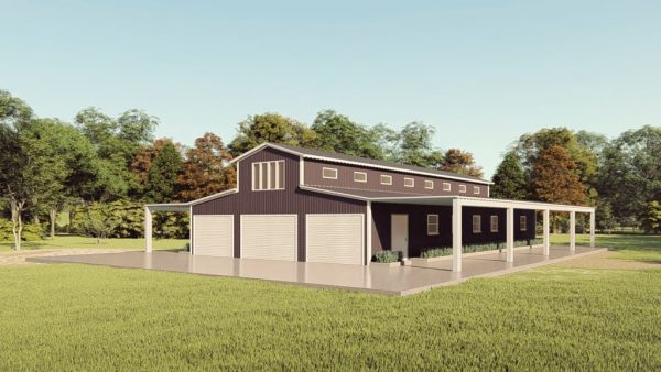 Barns 40x75 barn barns metal building rendering 1
