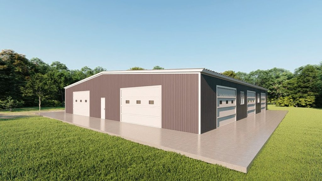 Base building packages 80x100 metal building rendering 3