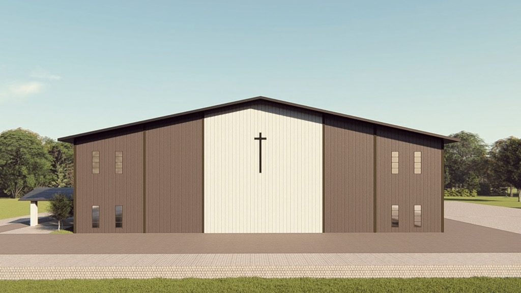 Churches metal building rendering 1