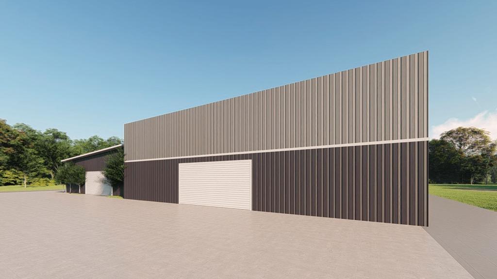 Commercial metal building rendering 3