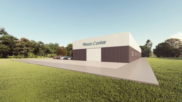 Fitness Center metal building rendering 1
