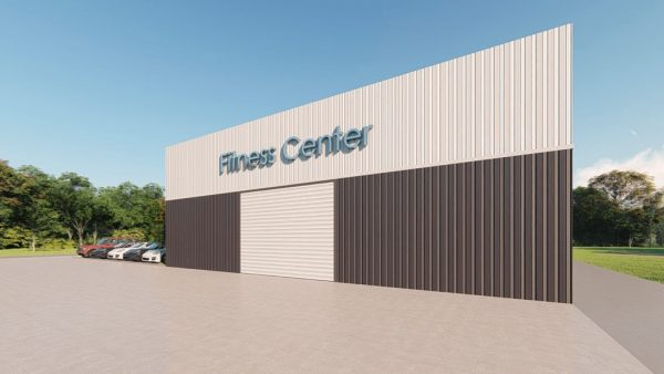 Fitness Center metal building rendering 3