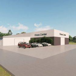 Fitness Center metal building rendering 4