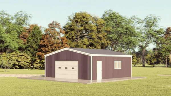 Garages 24x24 garage metal building rendering 1