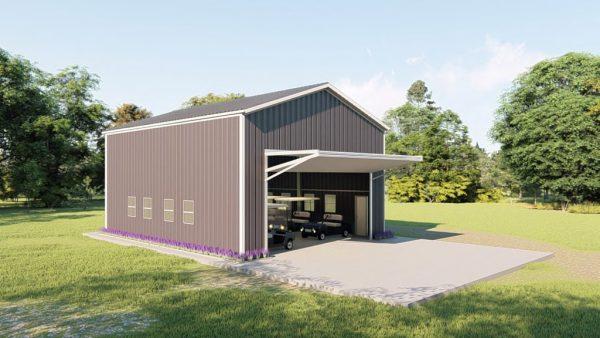 Golf cart storage metal building rendering 1