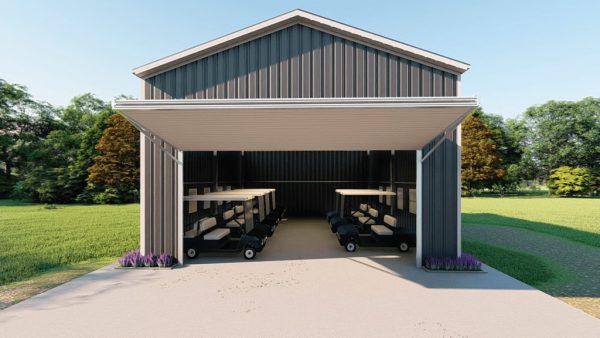 Golf cart storage metal building rendering 2