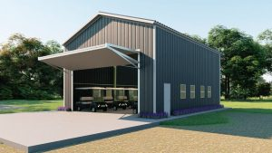 Golf cart storage metal building rendering 3