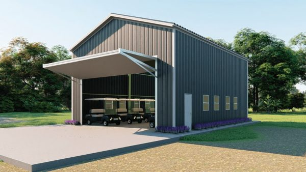 Golf cart storage metal building rendering 3