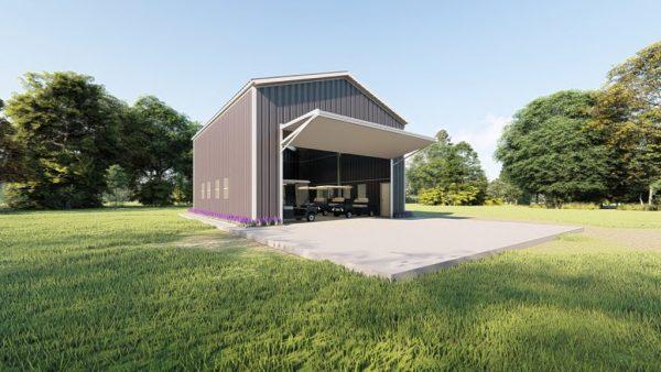 Golf cart storage metal building rendering 4